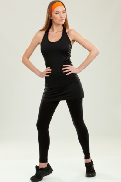 Step n Pump SP406 Black Leggings with Contrast Skirt