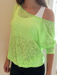 Denichi C10 Neon Lime Burnout Slouch Top