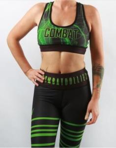 Combat Dollies Green Lightning Sports Bra