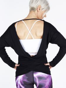 Step n Pump SP327 Crossover Back Long Sleeve Top