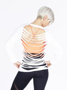Step n Pump SP330 Slashed Back Long Sleeve Top