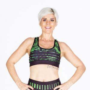 Combat Dollies Green Swirl Sports Bra