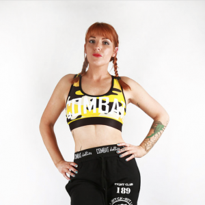 Combat Dollies Yellow Camo Sports Bra