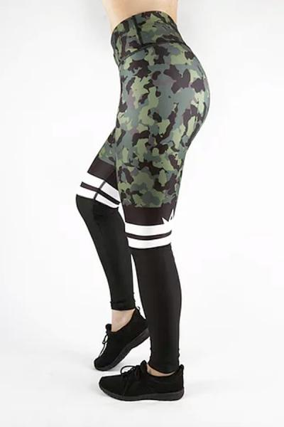 Combat Dollies Khaki Camo Half Mesh Fitness Leggings