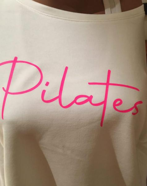 Step n Pump Essentials Luxe Ivory White - Neon Pink Pilates Top