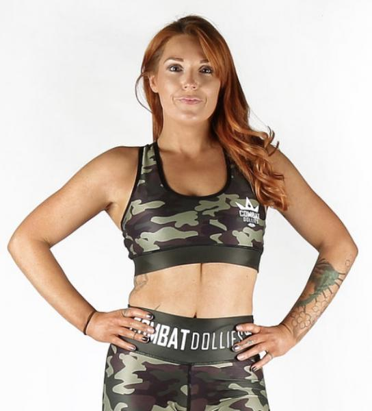 Combat Dollies Caged Camo Sports Bra